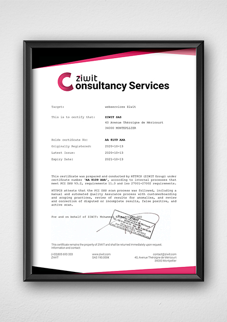 Ziwit Consultancy Services certification