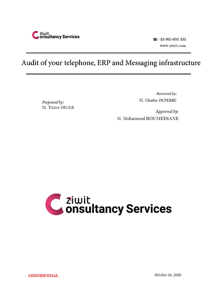 Audit report of your telephone, ERP and messaging infrastructure