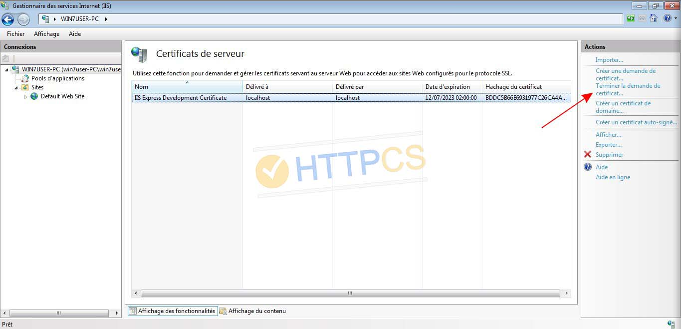 Comment installer un certificat SSL sur Windows IIS 10