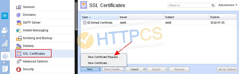 Comment installer un certificat SSL avec Kerio Mail Server