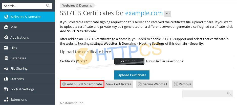 How to install an SSL Certificate with Plesk Panel